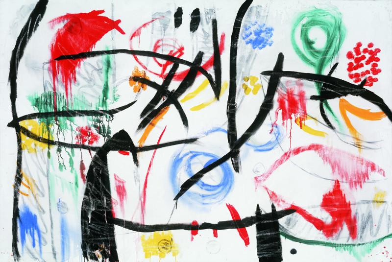 Miró – Poésie et lumière : Joan Miró Sans titre, 1968-1972 huile, acrylique, fusain et craie sur toile, 130,6 x 195,5 cm Fundació Pilar i Joan Miró, Mallorca Photo Joan Ramón Bonet & David Bonet / Courtesy Archivo Fundació Pilar i Joan Miró a Mallorca  © Successió Miró / 2013, ProL