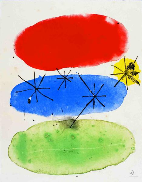 Miró – Poésie et lumière : Joan Miró Sans titre, n. d. gouache et encre sur papier, 18,8 x 14,7 cm  Fundació Pilar i Joan Miró, Mallorca Photo Joan Ramón Bonet & David Bonet / Courtesy Archivo Fundació Pilar i Joan Miró a Mallorca  © Successió Miró / 2013, ProLitteris, Zurich