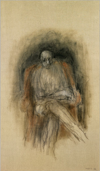 L'Esprit Singulier – Collection de l'Abbaye d'Auberive : MUSIC Zoran - Autoportrait, Poltrona Rosa II, 1996. 162x97cm.© Atelier Démoulin