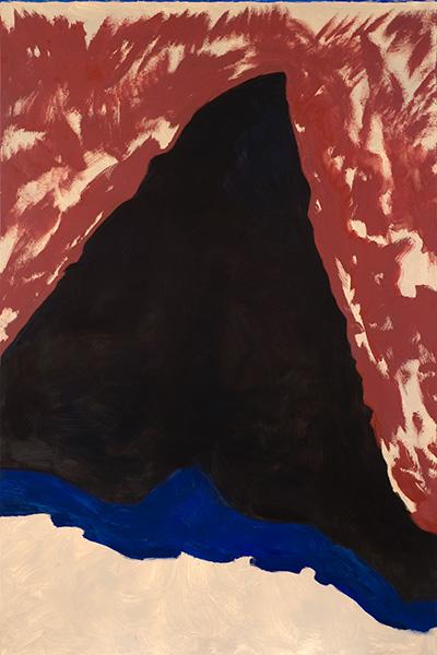 Guy de Malherbe et Jean-Bernard Métais : Guy de Malherbe. Brèche, Grand triangle noir. 2015, huile sur toile, 195 x 130 cm. Courtesy Galerie Vieille du Temple