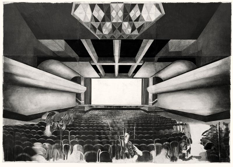 Le réel est inadmissible, d'ailleurs il n'existe pas : Marc Bauer - Cinema - 2009 - Crayon gris et noir sur papier - 230 x 325 cm - Collection Hauser&Wirth, Suisse