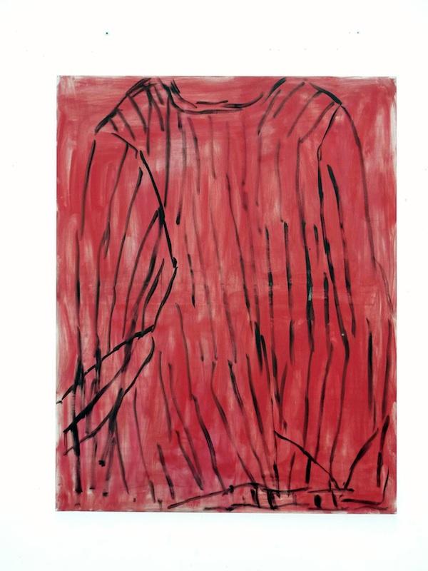 Marie-Claude Bugeaud : Pull rouge dans l'atelier, 2011, 146x114