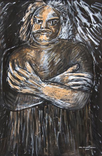 Martine Martine - Balzac, jour et nuit, de Tours à Saché : Martine Martine. Balzac moyen n°19. Lavis, 2011, 110 x 75 cm © ADAGP 2013 Bertrand Michau