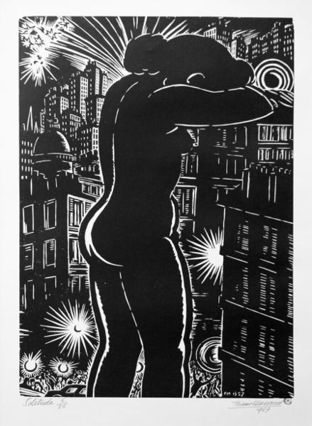 Les murs de la cité. Blues et Renaissance : Frans Masereel. Solitude. 1957, gravure sur bois. Collection Musée de Gravelines.