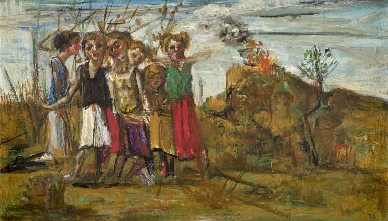 Tal Coat - La liberté farouche de peindre : Massacres, 1936 Huile sur panneau de bois parqueté 24,5 x 52,5 cm Collection de Bueil & Ract-Madoux, Paris DR © Collection particulière © ADAGP Paris 2017