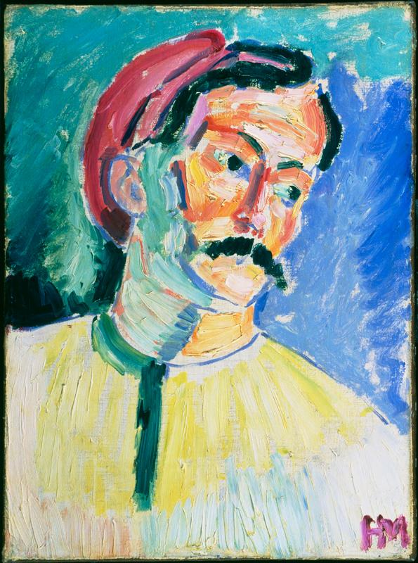 Matisse, Cézanne, Picasso... L'aventure des Stein : Henri Matisse.  Portrait de Derain.  1905, huile sur toile, 39 x 29 cm.  Tate Collection, Londres, Grande-Bretagne.