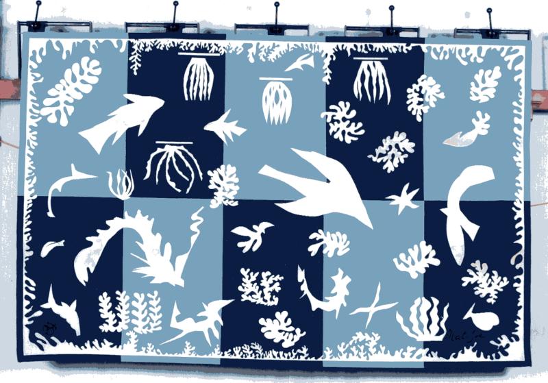 Beauvais, 350 ans. Portraits d'une manufacture : Tapisserie d'après Henri Matisse. Polynésie, La Mer. 1959, 196 x 364 cm. Collection Mobilier national, Paris (inv. BV 43). DR Isabelle Bideau.