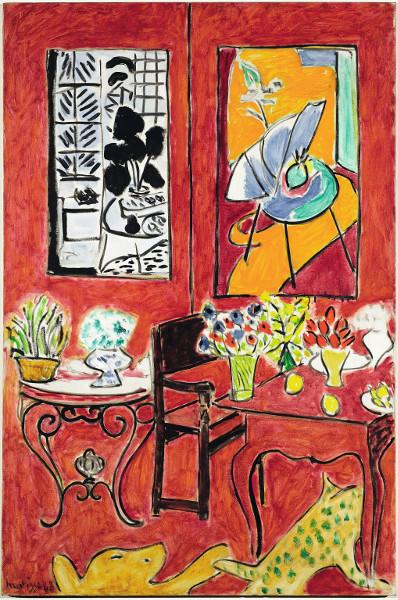 Matisse en son temps : Henri Matisse. Grand Intérieur Rouge. 1948, huile sur toile, 146 x 97 cm. Centre Georges Pompidou, Musée national d'art moderne, AM 2964 P. © Succession H. Matisse / 2015, ProLitteris, Zurich / Photo © Centre Pompidou, MNAM- CCI, Dist. RMN-Grand Palais /