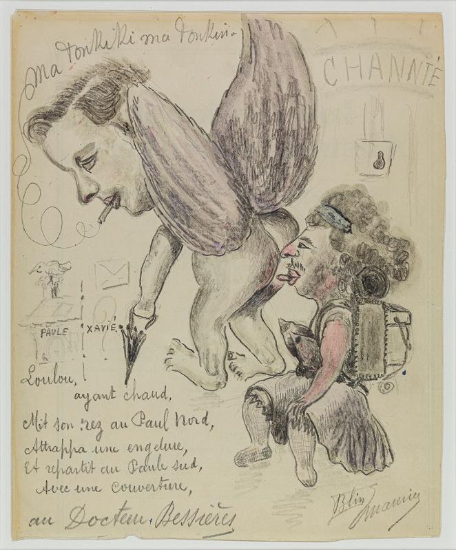 Follement drôle : Maurice Blin Ma Tonkiki ma Tonkin 1950 Mine de plomb, crayon de couleur et gouache sur papier 22 x 18 cm Inv. n°0347 MAHHSA © Dominique Baliko