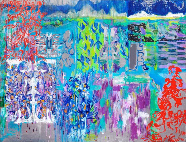 Michaële-Andréa Schatt – Jardins de traverse : Jardin de traverse, 2013-2014, technique mixte sur toile, 185 x 240 cm