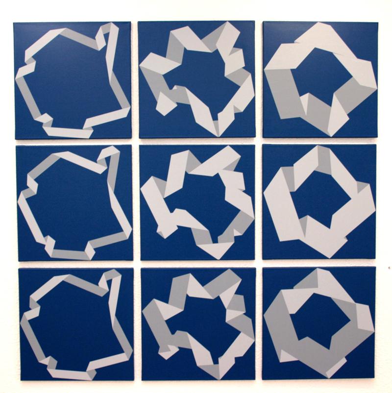 Vera Molnar «60 ans de carrés» : Trois pliages, trois façons; 2003-09; © galerie Oniris - rennes, ADAGP, Paris, 2010.