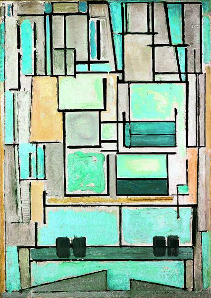 Fenêtres - De la Renaissance à nos jours, Dürer, Monet, Magritte ... : Piet Mondrian?Composition No. Vl / Compositie 9, 1914?huile sur toile, 95,5 x 68 cm?Fondation Beyeler, Riehen (Basel)?© 2012 Mondrian/Holtzman Trust c/o HCR International USA