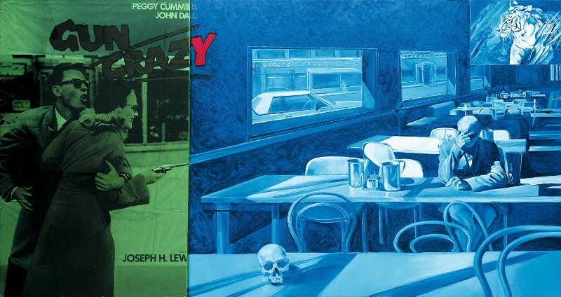 Jacques Monory : Couleur n° 1, 2002 Huile sur toile, affiche de cinéma «Gun Crazy» de J. H. Lewis et plexiglas, 195 x 458 cm © Jacques Monory - Adagp, Paris, 2014