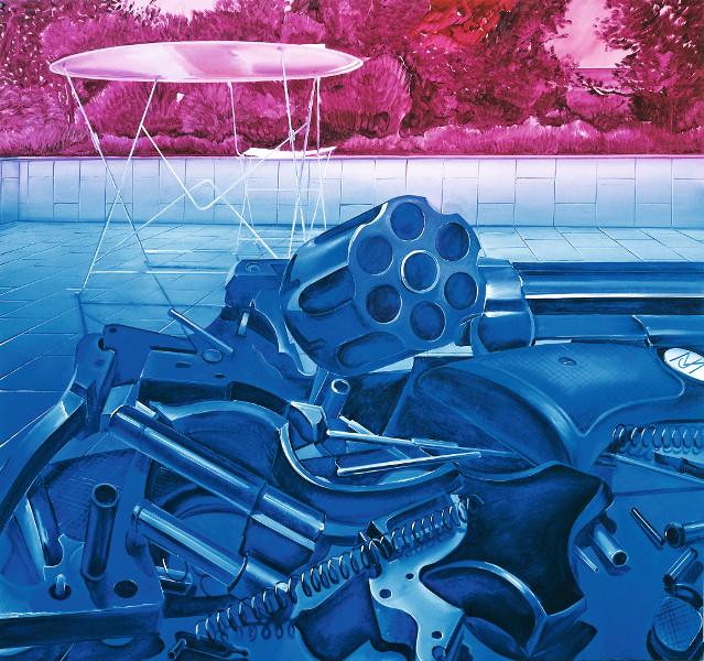 Jacques Monory : La terrasse n°8, 1989 Huile sur toile, 150 x 150 cm © Jacques Monory - Adagp, Paris, 2014