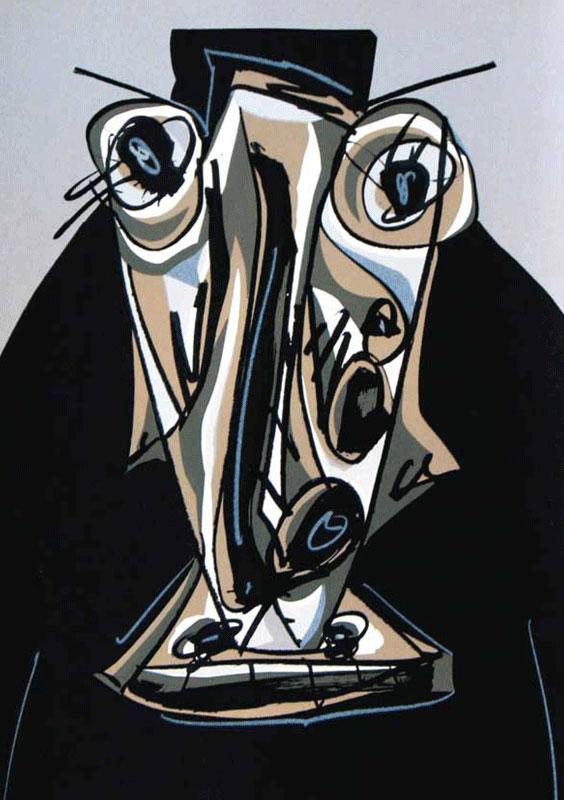 Antonio Saura : Rétrospective des estampes réalisées par l'Atelier Clot, Bramsen et Georges à Paris : Antonio Saura - Une chair d'ombre Melanchion III - 1988 / © Succession Antonio Saura / VEGAP/ADAGP-Paris, 2011