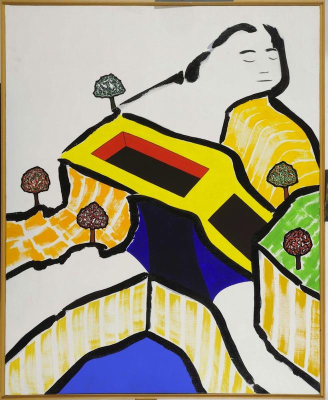 Notre vallée : Jean-Michel SANEJOUAND, Sans titre, acrylique sur toile, 1981, 100x81 cm, musée du château de Montbéliard.