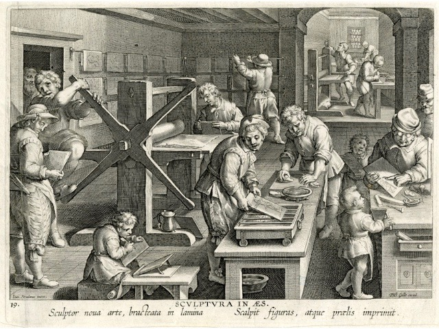Bruegel - L'Image imprimée au temps de Bruegel (1500-1585) : Nova Reperta Philips Galle naar Johannes Stradanus (Jan van der Straet), Sculptura in Aes (De kopergravure) uit de reeks 'Nova Reperta' (Nieuwe Ontdekkingen) © Koninklijke Bibliotheek van Belgie