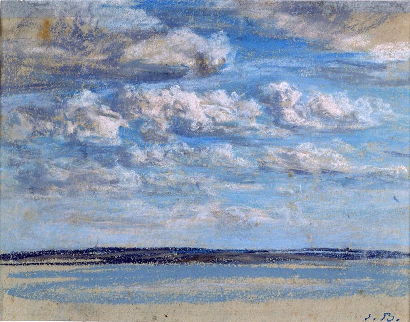 """Honfleur, entre tradition et modernité, 1820 – 1900. : Eugène Boudin, """"Nuages blancs"""", 1854-59, © Musée Eugène Boudin."""