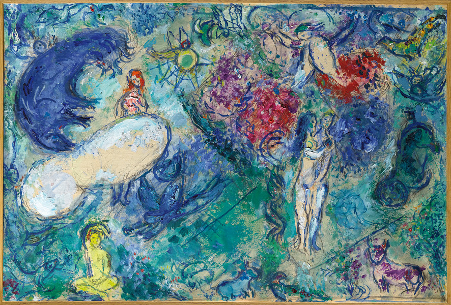 Marc Chagall, du verbe à l'image : Marc Chagall, Le Paradis, Huile sur papier entoilé, 48x72cm © musée national Marc Chagall, Nice © RMN-GRAND PALAIS Gérard Blot © Adagp, Paris 2013