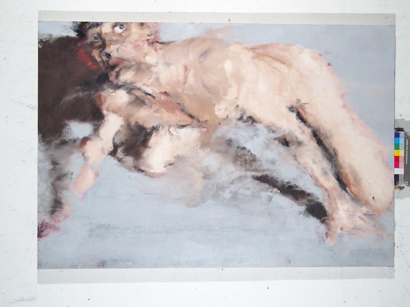 Philippe Cognée. La Matière remuée. : L'Homme chien n°2 2006-2016 Peinture à la cire sur toile marouflée sur bois 89 x 130 cm © Philippe Cognée
