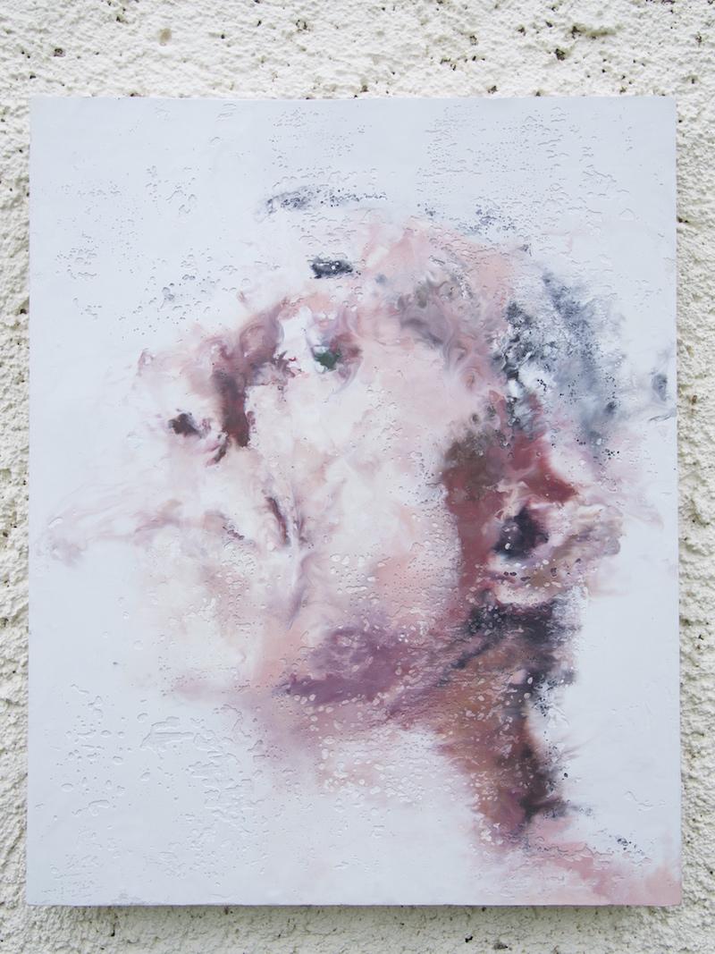 Philippe Cognée. La Matière remuée. : Autoportrait 2015 Peinture à la cire sur toile marouflée sur bois 41 x 33 cm © Philippe Cognée