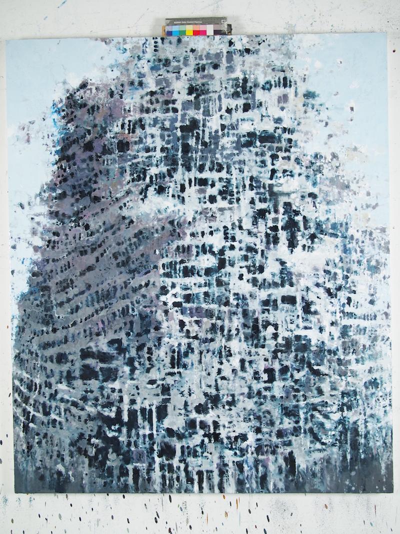 Philippe Cognée. La Matière remuée. : Termitière 2016 Peinture à la cire sur toile marouflée sur bois 150 x 125 cm © Philippe Cognée courtesy Galerie Daniel Templon, Paris Bruxelles