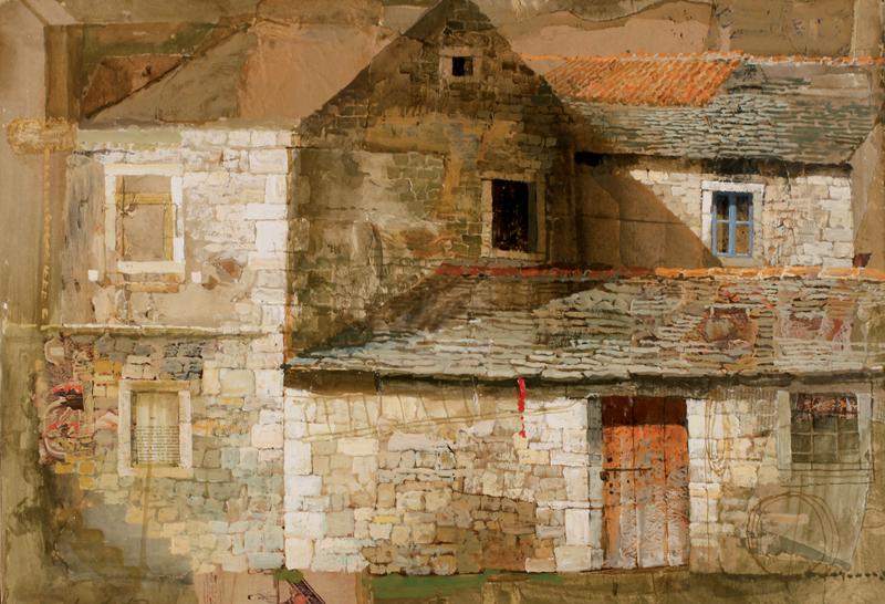 Safet Zec. La peinture et la vie : Maison de pierre avec la cour, 2015 - tempera et collage sur toile [160x120cm]© Francesco Allegretto