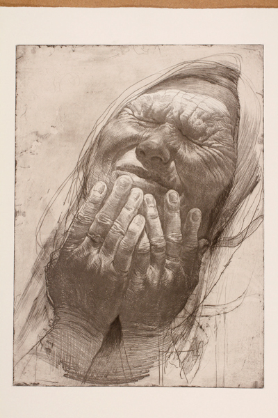 Safet Zec. La peinture et la vie : Mains sur le visage - vernis mou et pointe sèche [70x50cm] © Francesco Allegretto