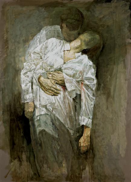 Safet Zec. La peinture et la vie : Corps couvert, 2011 - aquarelle et tempera sur papier toile [220x160cm] © Francesco Allegretto
