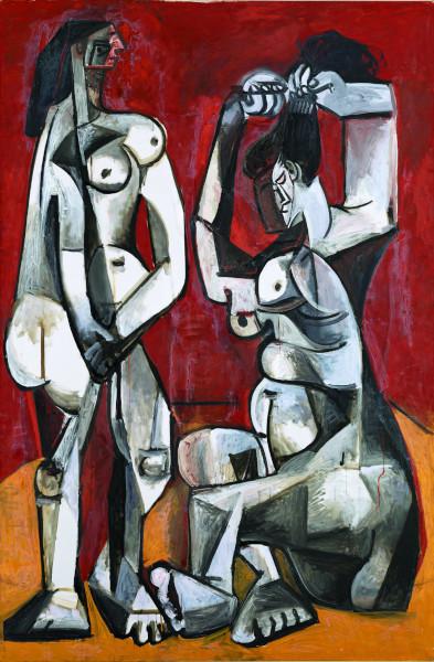 D'Afrique aux Amériques : Picasso en face-à-face, d'hier à aujourd'hui : Pablo Picasso (1881-1973), Femmes à la toilette, Cannes, 4 janvier 1956, huile sur toile. Musée national Picasso-Paris, dation Pablo Picasso, 1979. © Succession Picasso / SODRAC (2018). Photo ©RMN-Grand Palais / Art Resource, NY / Mathieu Rabeau  Pablo P
