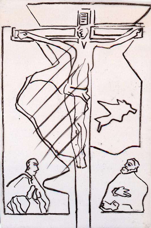"""Pierre Buraglio d'après ...autour ...selon ... : """"Dessin d'après...Le Gréco. Le Christ aux donateurs"""", 1989"""