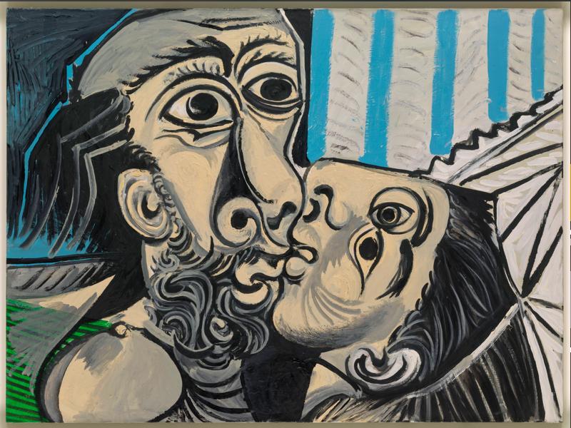 Picasso-Rodin : Pablo Picasso, Le Baiser, Mougins, 26 octobre 1969, huile sur toile, 97 x 130 cm, Musée national Picasso-Paris, dation Pablo Picasso, MP220. Photo (C) RMN- Grand Palais / Adrien Didierjean, © Succession Picasso 2021