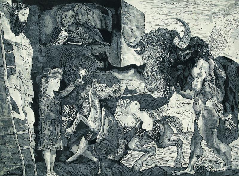 Picasso, l'atelier du Minotaure : Pablo Picasso, La Minotauromachie, 1935 Eau forte, grattoir et burin 49,4x69,3 cm Collection Sylvie Mazo © Succession Picasso 2018 Photo © Bouquinerie de l'Institut
