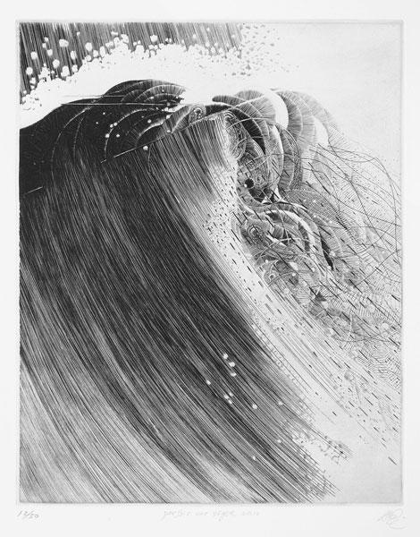 Passage du témoin, Cécile Reims & les graveurs du XVe au XXIe siècle, affinités sélectives : Akira Abe (1949), Parfois une vague 10, 1997, Burin, 27,5 x 34,8 cm, coll. particulière, Galerie Bonnafous-Murat