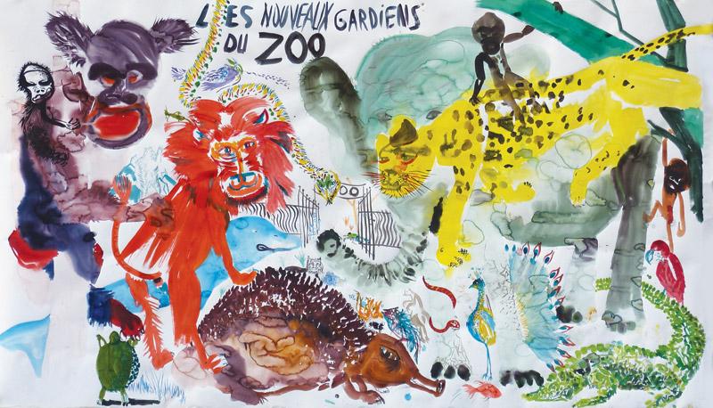 Pas si bêtes – Histoires comme ci : Jean-Xavier Renaud, Les nouveaux gardiens du Zoo, aquarelle sur papier Canson, 152 cm X 271 cm, 2011, courtesy galerie Françoise Besson.
