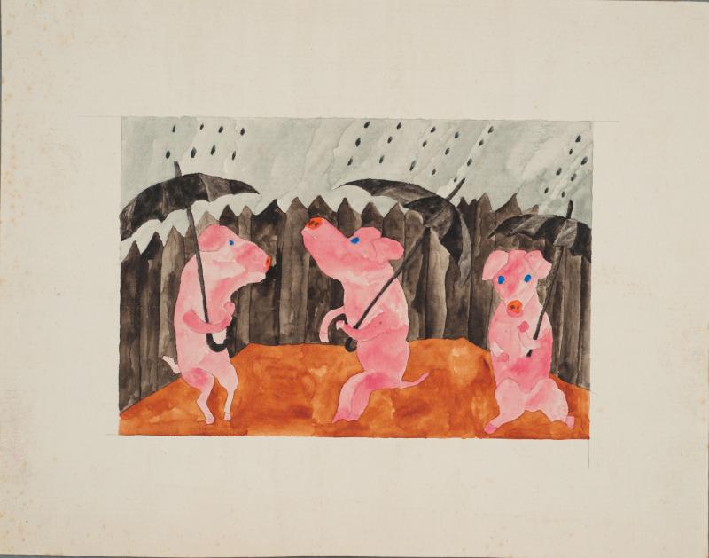 Follement drôle : Paul Goesch Trois cochons 1919 Gouache, crayon sur papier 9,3 x 13,9 cm Sammlung Prinzhorn Inv. n° 1090/40 (2014) © Sammlung Prinzhorn, UniversitätsklinikumHeidelberg