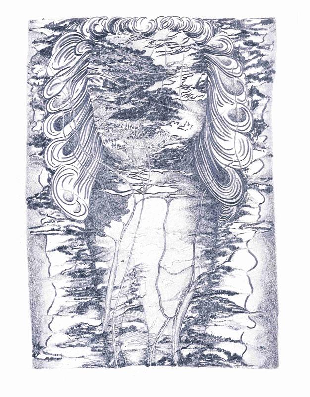 Françoise Vergier - Je suis une montagne : Paysage irrigué, 2001-2002, dessin graphite, 41 x 30 cm