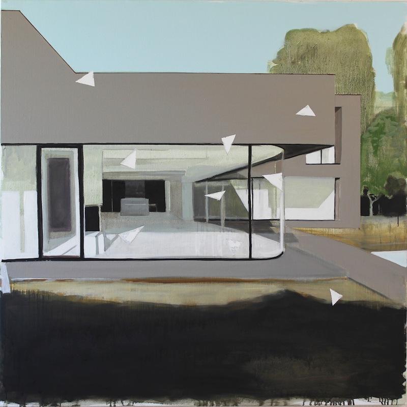 Jérémy Liron – L'Inquiétude : Jérémy Liron, Paysage 113, 2012, huile sur toile, 123 x 123 cm. Courtesy Galerie Isabelle Gounod
