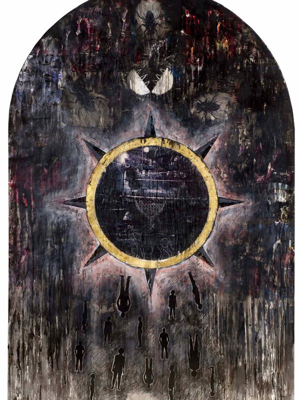 La Collection sort de sa Réserve ! - Exposition Collective : Bruno Pédurand, Soleil noir (série In vitro), Techniques mixtes et décalcomanies sur papier,  160 X 110 cm, 2008