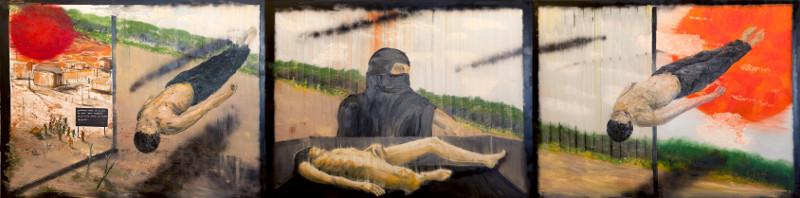 Stéphane Pencréac'h. Œuvres monumentales : Stéphane Penchréac'h. Tombouctou. 2012, huile et bombe sur toile, 195 x 780 cm en polyptique (3 parties). © ADAGP, Paris,© ADAGP, Paris, 2014