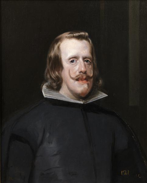 Velázquez : Portrait de Philippe IV. Vers 1654, huile sur toile, 69,3 x 56,5 cm.  Museo Nacional del Prado, Madrid.