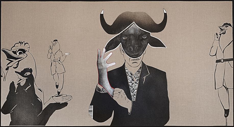 Khaled Takreti, la peinture liberté : Photocopies, 2013, acrylique sur toile, 106 x 196 cm