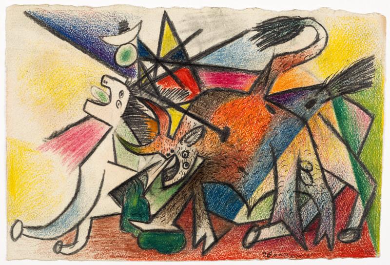 Olga Picasso : Pablo Picasso, Corrida, avril 1935, Crayons de couleur, crayons à la cire, crayon graphite, plume et encre de Chine sur papier à dessin vélin, 17.3 x 25.8 cm, Musée national Picasso-Paris, Dation Pablo Picasso, 1979. MP1145, Droit auteur: ©Succession Pic