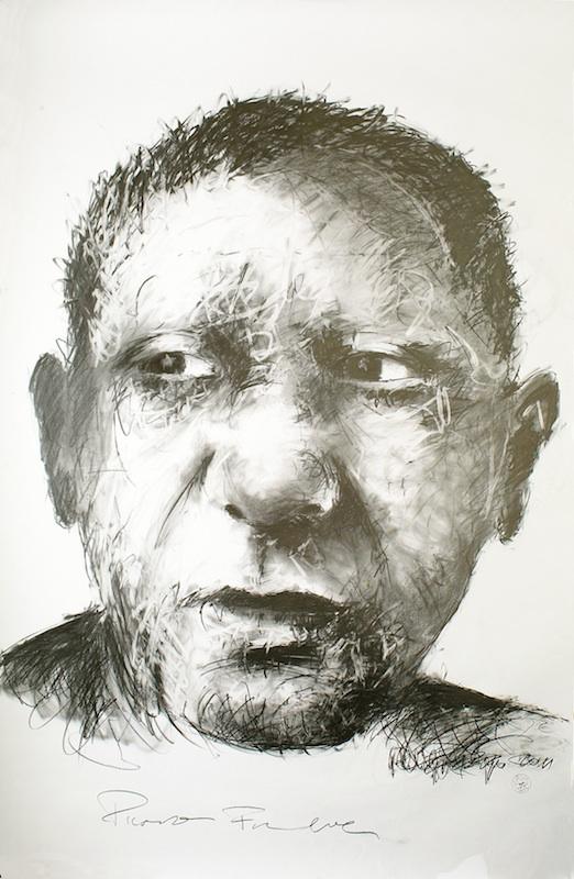Picasso forever : Philippe PASQUA, Picasso forever, 2011, crayon sur papier marouflé sur toile, 220 x 150 cm