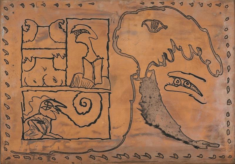 Pierre Alechinsky & Fata Morgana : Michel Butor, Le rêve de l'ammonite, 1975, Planche de cuivre, 32 x 25 cm.