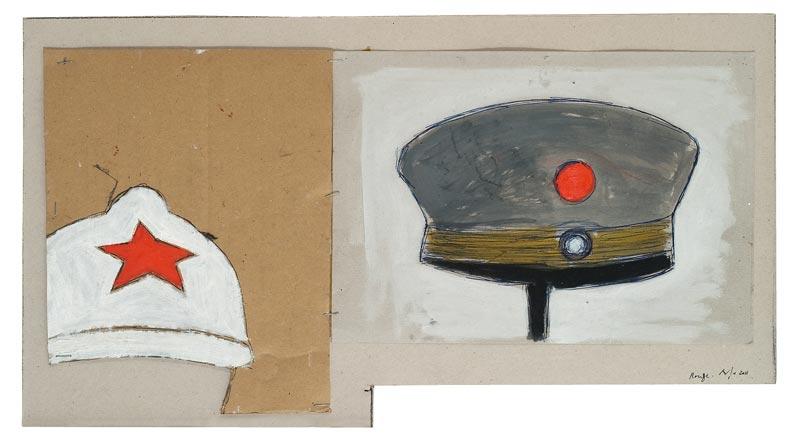 Buraglio, la guerre intime : Pierre Buraglio, Rouge, peinture sur carton, 2011 © ADAGP, Photo Alberto Ricci