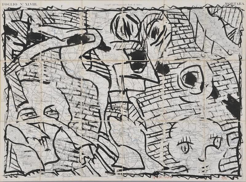 Pierre Alechinsky & Fata Morgana : Pierre Alechinsky, Lieux et liens, 1994, encre tracée sur carte, 20 x 13 cm.