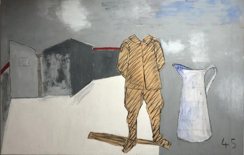 Pierre Buraglio, Juin Poignardé : 45, 2018, peinture sur contreplaqué, 114 x 95 cm © Maison Triolet-Aragon