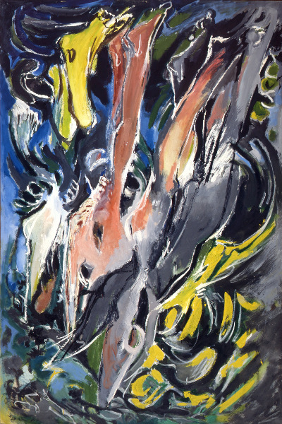 Pierre Buraglio / Edouard Pignon : Edouard Pignon. Les Plongeurs verticaux II. 1961, huile sur toile, 195 x 130 cm © Galerie Bernard Ceysson Paris
