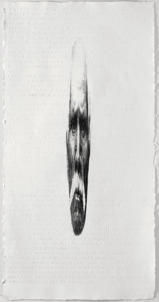 Estampes ? Collection (im)permanente : Jaume Plensa. A,B,C .... 2008, impression numérique et gaufrage sur papier Somerset. Collection du Musée de Gravelines. © Marti Gasull